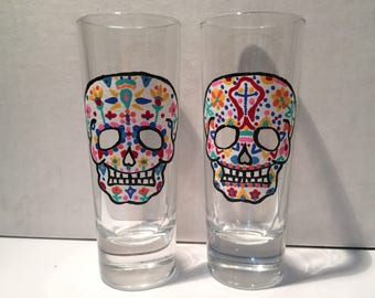 Sugar Skull Shot Glass Set of 2, Dia de los Muertos Shot Glasses, Day of the Dead, Shot Glass Set, Halloween Shot Glasses