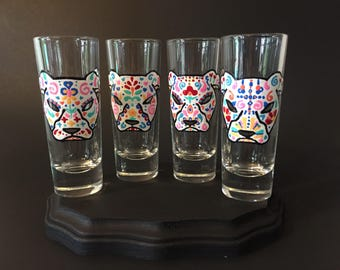 Dog Sugar Skull Shot Glass Set of 4, Dia de los Muertos Shot Glasses, Day of the Dead, Shot Glass Set, Doggy Halloween Shot Glasses
