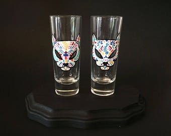 Cat Sugar Skull Shot Glass Set of 2, Dia de los Muertos Shot Glasses, Day of the Dead, Shot Glass Set, Kitty Halloween Shot Glasses