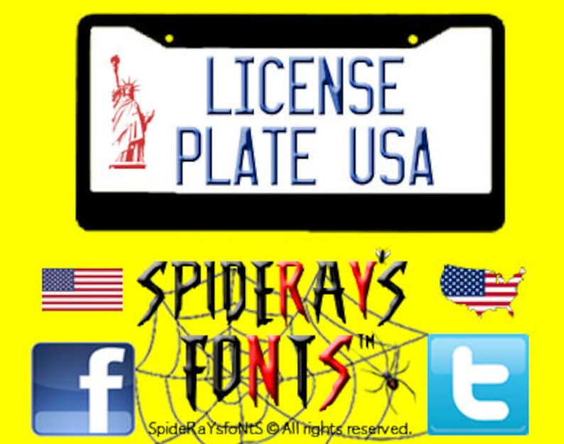 LICENSE PLATE USA Commercial Font image 0