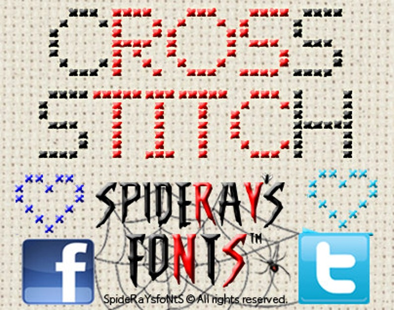 CROSS STITCH Commerical Font image 0