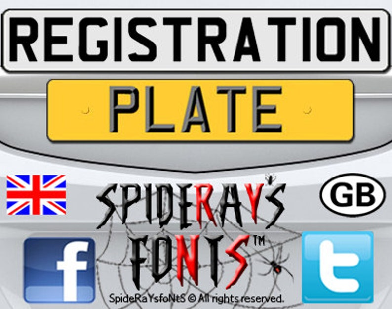 REGISTRATION PLATE UK Commercial Font image 0