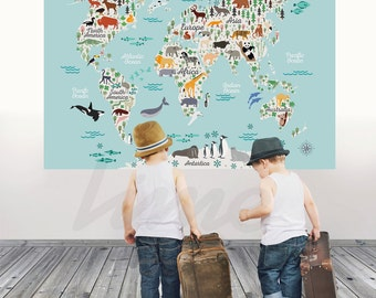 Animals world map wall decal peel and stick poster animals animals world map wall decal peel and stick poster animals wall decal world map decal poster for kids r0005 gumiabroncs Image collections