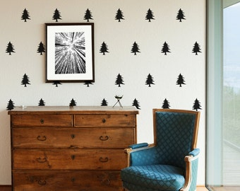 """Pine Tree Patterned Wall Decal -   39 4""""X3"""" Pine Tree forest theme B0012"""