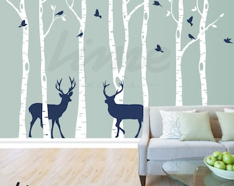 Birch Tree Deer Wall Decal Forest,  Birch Trees, Birch Trees Vinyl, Birch Tree Wall Decal, Kids Vinyl Sticker Removable