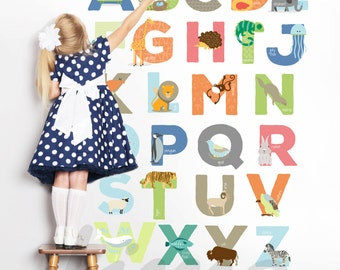 Animals Alphabet Decals -  Letters stickers for kids, babies, nursery room just peel and stick ! R0012