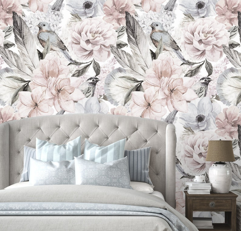 Floral Wallpaper   Neutral Flowers Self Adhesive Fabric image 0