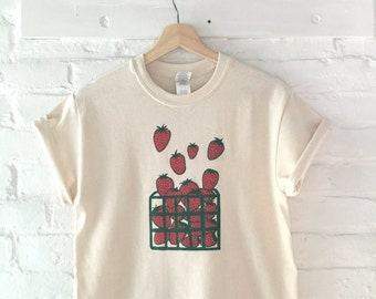 Strawberry T-Shirt, Screen Print Shirt, Clothing Gift, Foodie Gift, Gardening Gift