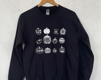 Pumpkin Sweatshirt, Halloween Sweatshirt, Screenprinted Sweatshirt