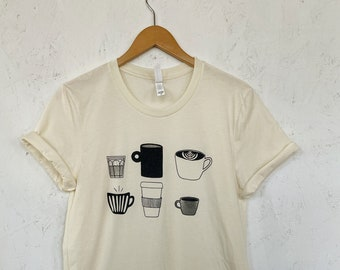 Coffee T-Shirt, Coffee Screen Printed T Shirt, Clothing Gift, Foodie Gift, Coffee Gift, Soft style tee