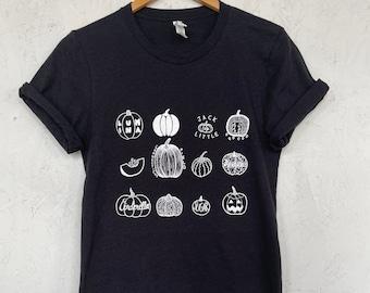 Pumpkin T-Shirt, Halloween Shirt, Screen Print Shirt, Foodie Gift, Clothing Gift, Soft Style Tee