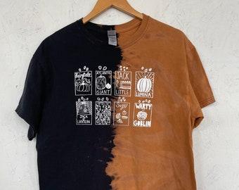 PRE ORDER Pumpkin T-Shirt, Halloween Shirt, Screen print shirt, Tie Dye Shirt, Bleached Shirt, Pumpkin Seeds