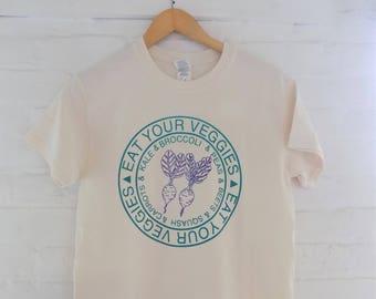 Vegetable T-Shirt, Food Shirt,  Eat Your Veggies Screen Printed T Shirt,  Foodie Gift, Gardening Gift