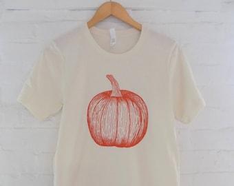 Pumpkin T-Shirt, Halloween Shirt, Screen Print Shirt, Food Shirt, Foodie Gift, Soft Style Tee