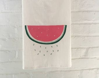 Watermelon Tea Towel, Flour Sack Towel, Summer Tea Towel, Screen Printed Flour Sack Towel