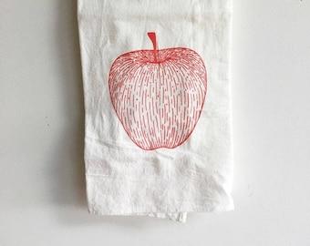 Tea Towel, Apple Tea Towel, Fall Tea Towel, Screen Printed Flour Sack Towel