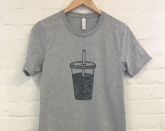 Coffee T-Shirt, Food Shirt, Coffee Screen Printed T Shirt, Iced Coffee, Foodie Gift, Coffee Gift, Soft style tee