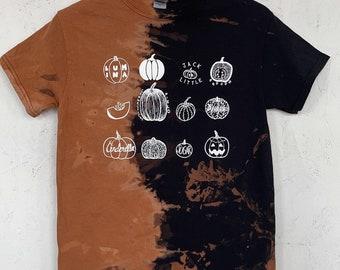 PRE ORDER Pumpkin T-Shirt, Halloween Shirt, Screen print shirt, Tie Dye Shirt, Bleached Shirt