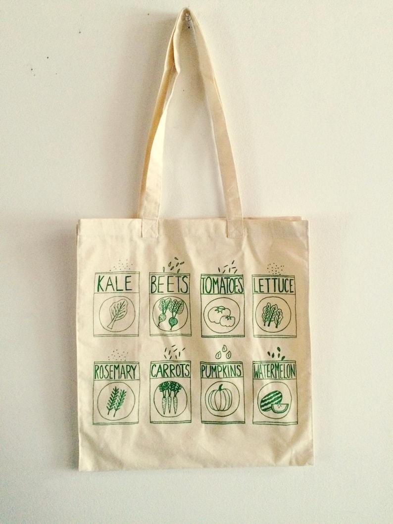 e2d5b900f1f Garden Tote Bag Market Tote Kale Tote Screen Printed