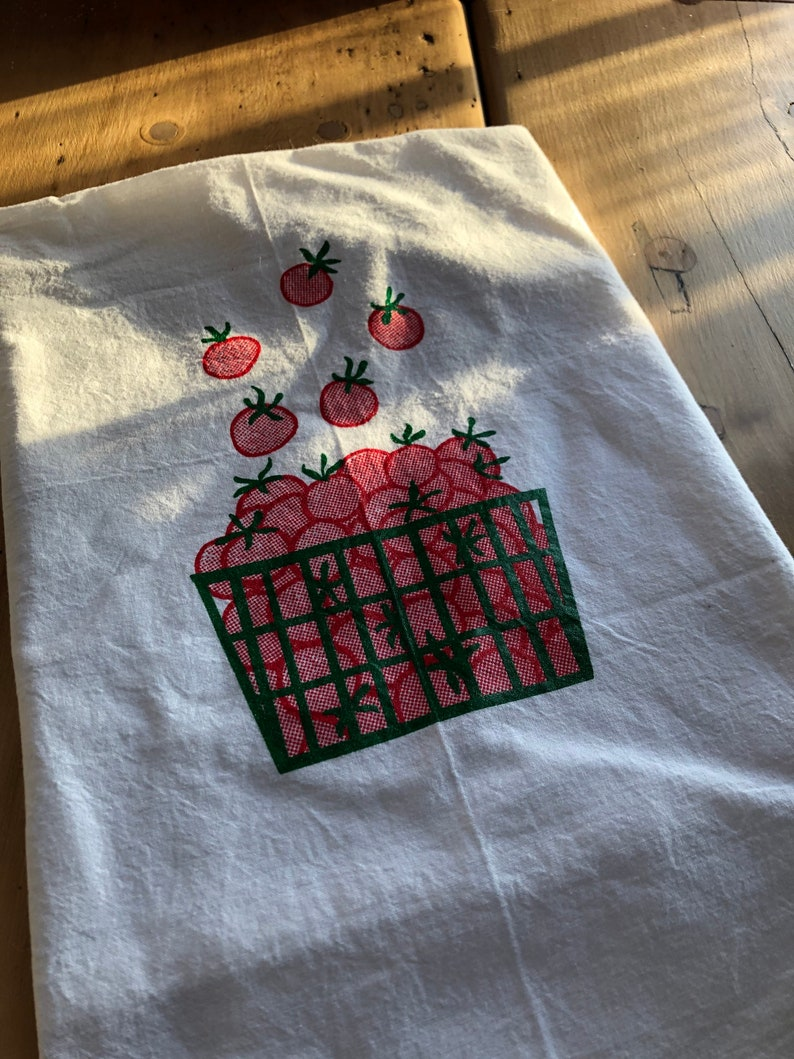 Dish Cloth Screen Printed Flour Sack Towel Tomato Tea Towel Vegetable Towel Food Towel Flour Sack Towel