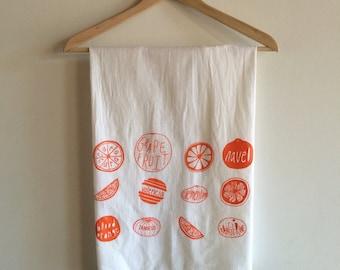 Tea Towel, Oranges, Citrus Towel, Screen Printed Flour Sack Towel