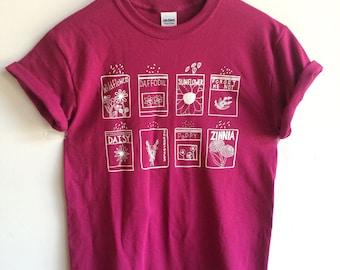 Flower Shirt, Screen Printed T Shirt, Garden Shirt, Gardening Gift