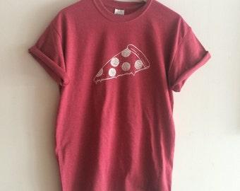 Pizza T Shirt, Food Shirt, Screen Printed Shirt, Foodie Gift, Clothing Gift