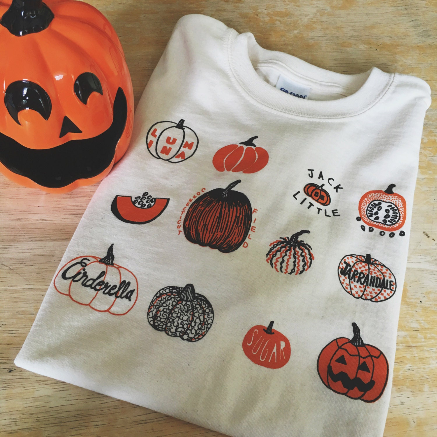 Pumpkin T Shirt Halloween Shirt Screen Print Shirt Foodie Etsy