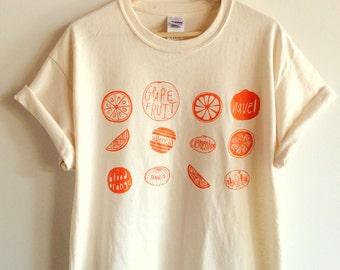 Oranges Food Screen Printed T-Shirt, Graphic Tee
