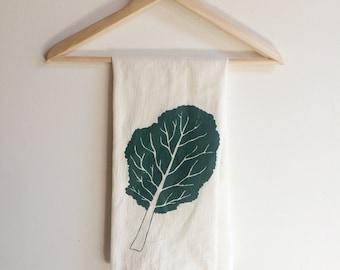 Kale Tea Towel, Screen Printed Flour Sack Towel