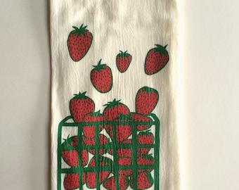 Strawberry Tea Towel, Flour Sack Towel, Summer Tea Towel, Screen Printed Flour Sack Towel