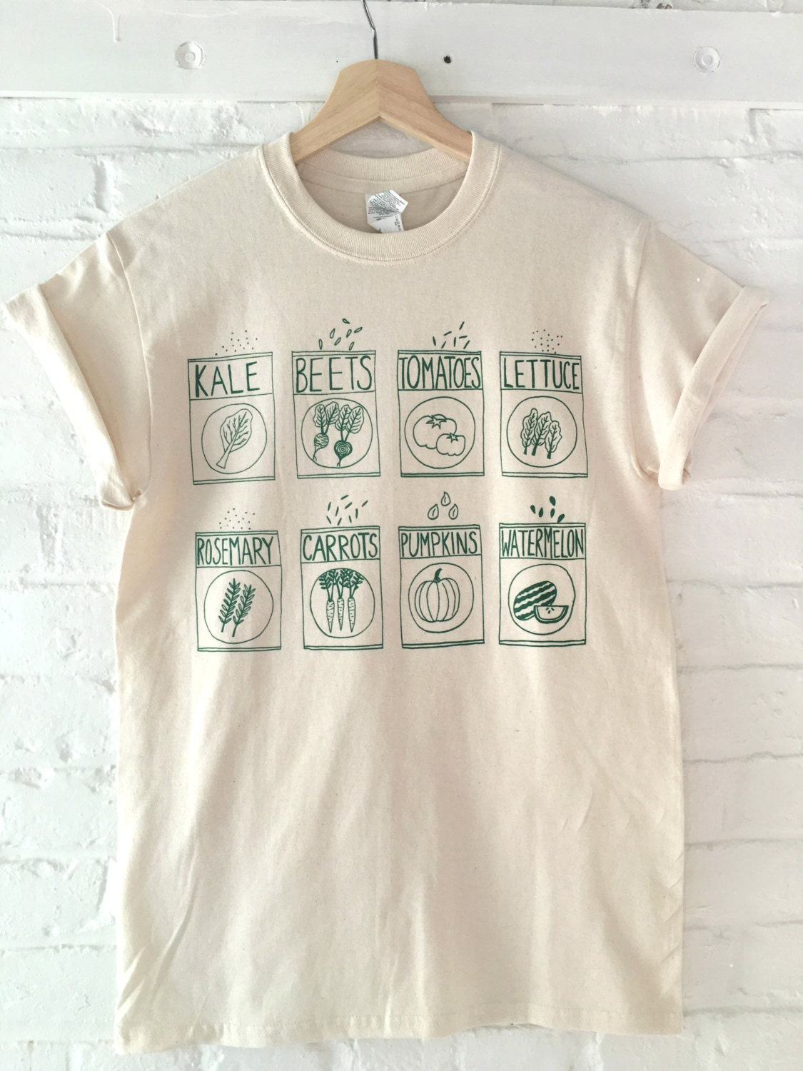 Garden Kale Screen Print T Shirt Graphic Tee Gardening Etsy