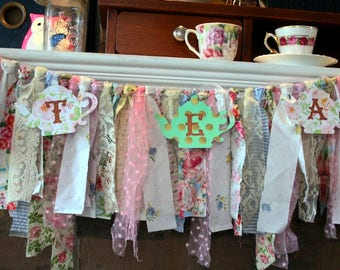 Tea Party Garland,Rag Tie Garland,Ragged Fringe,Lace,Fabric Garland,Shabby Chic,Banner,Country,Farmhouse,Wedding,Shower,Party, Photo Prop