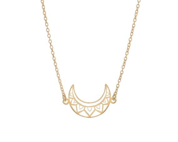 Moon Boho Necklace Golden Bath