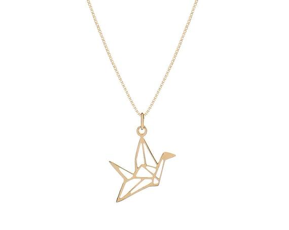 Origami Crane Necklace   Golden Bath