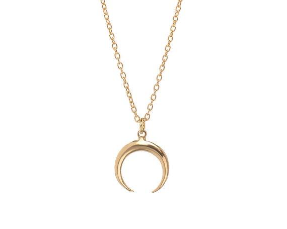 Inverted Moon Necklace   Golden Bath