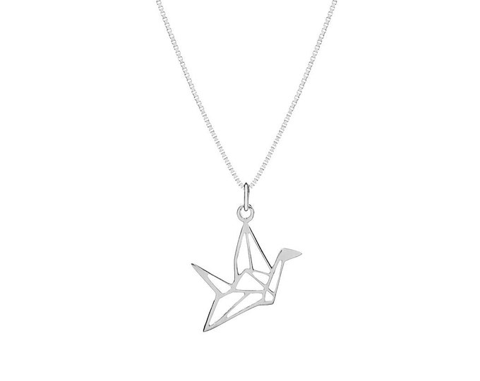 Origami Crane Necklace | Sterling Silver