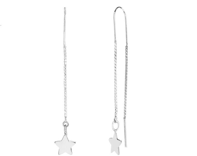 Star Long Earrings Sterling Silver