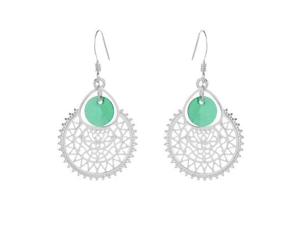 Silver Alhambra earrings | Zamak and Swarovski