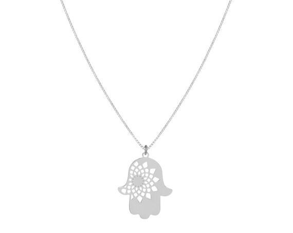 Hamsa Mandala Necklace   Sterling Silver