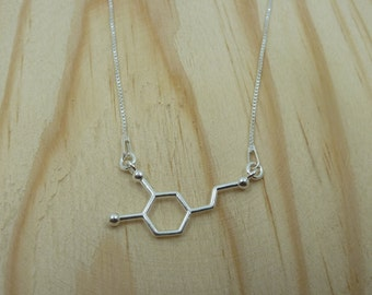 Pendant molecule Dopamine in Sterling Silver with Venetian chain