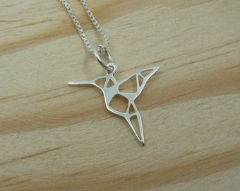 Origami Hummingbird Pendant with Sterling Silver Venetian chain
