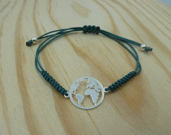 Adjustable bracelet with Entrepieza world in sterling silver