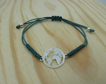 Adjustable bracelet with Entrepieza world in sterling silver