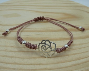 Adjustable bracelet with pink Entrepieza in sterling silver with snake knot