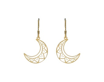 Boho Moon Earrings Golden Bath