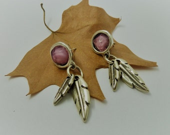 Tardor Earrings ? Zamak leaves and resin cabochon