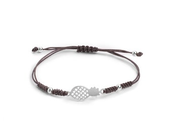 Macramé Bracelet Pineapple   Ssread Silver