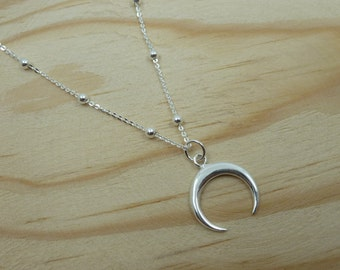 Inverted Moon Pendant with ball chain in Sterling Silver
