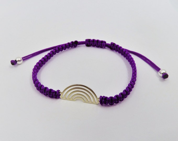 Featured listing image: Rainbow Macramé Bracelet Sterling Silver